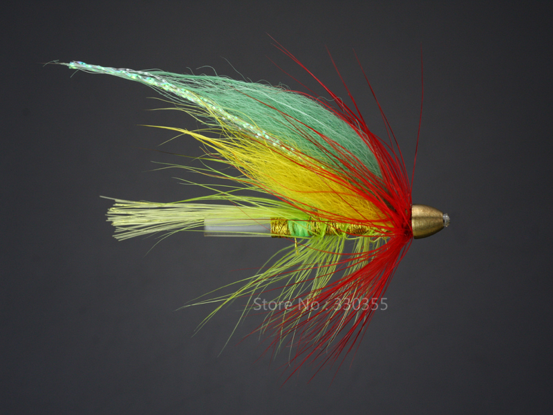 100Pcs Tube Fly Green Cone Heads Green Red Salmon And Sea Trout Fly Fishing Flies Lures