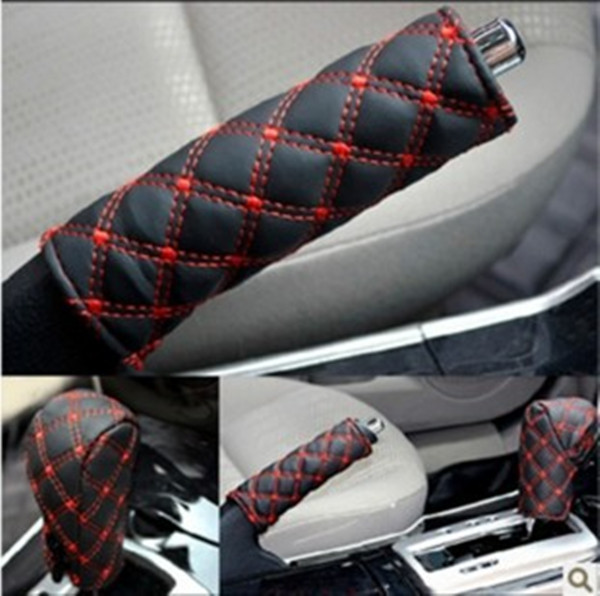 durable diamond stitching pu leather Padding Handbrake Grips Gear