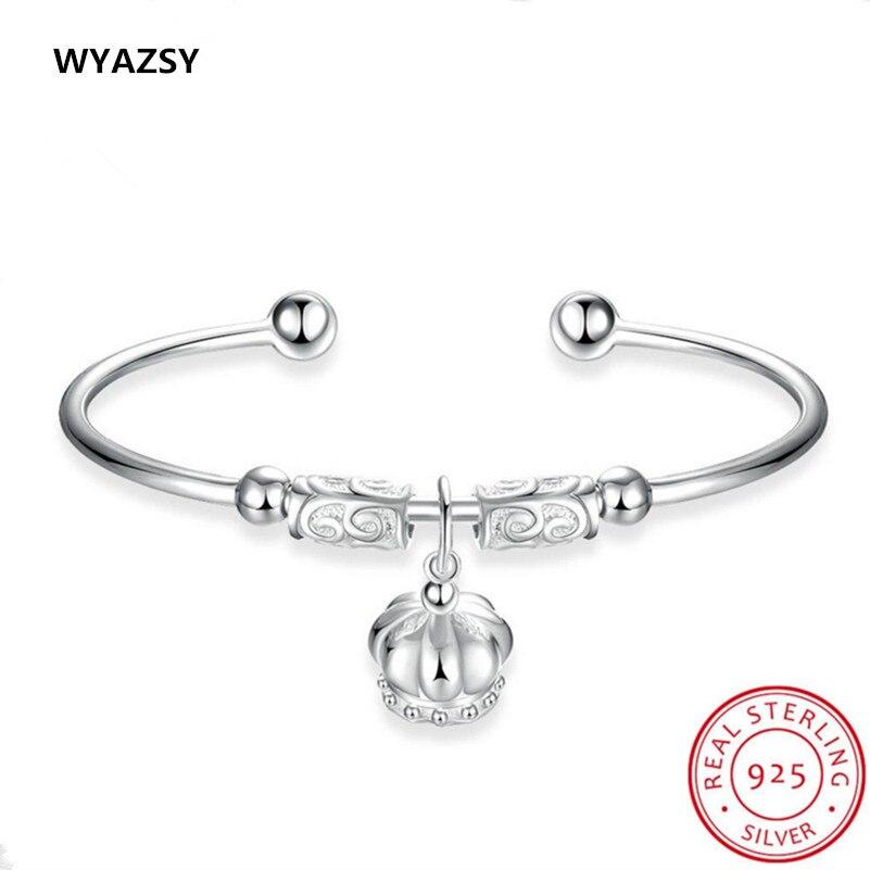 New Original 100 S925 Sterling Silver Bracelets for Women font b Fashion b font Crown Charm
