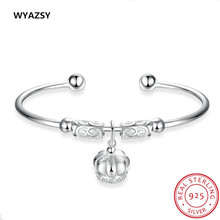 New Original 100% S925 Sterling Silver Bracelets for Women Fashion Crown Charm Pendants Bracelets Fine Jewelry Gift Braceletes