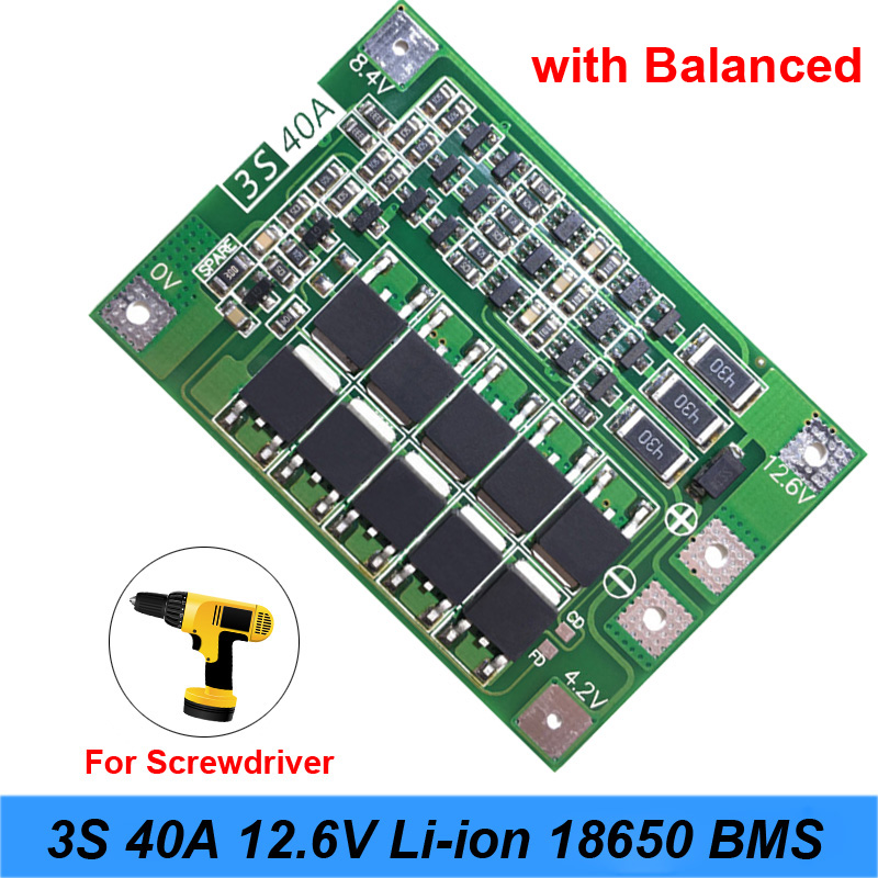 3S 40A 11.1V 12.6V 18650 lithium battery protection Board for screwdriver drill 40A current with Balance j31 image