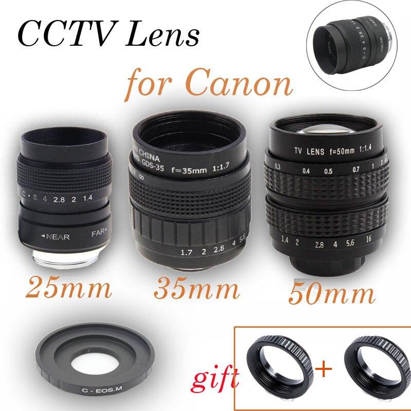 FUJIAN 3in1 CCTV 25mm f1 4 Lens 35mm f1 7 Lens 50mm f1 4 Lens Mount