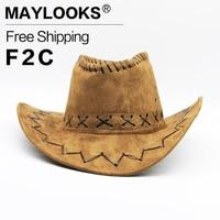 Trendy Men Women Sunscreen Cowboy Hat Felt Classic Bucket Brim Cap With Rope Hot HN11