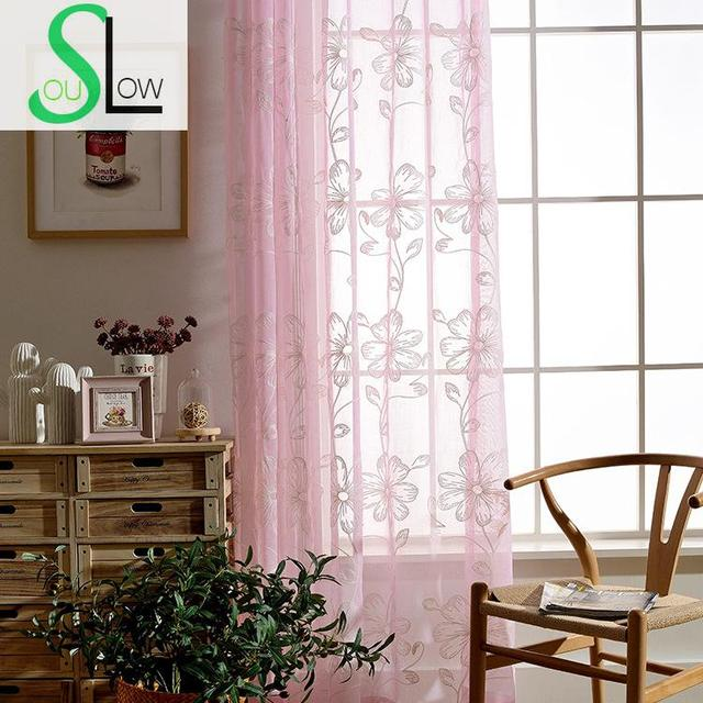 Slow Soul Pink Blue Curtain Past Embroidered Fl Towels Tulle Curtains For Living Room Kitchen