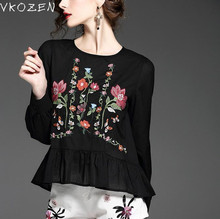 2017 Fashion Women Blouses Flower Embroidery Casual Shirts Hem Ruffles Pleated Vintage Black White Loose Tops