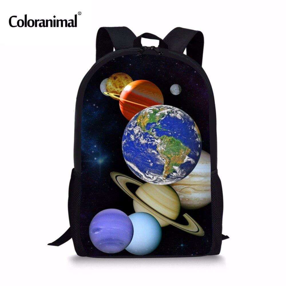 Coloranimal Personalized Boys Girls Shoulder Cause Knapsack 3D Universe Space Earth Planet Print Middle Student School Bookbags navigators planet earth