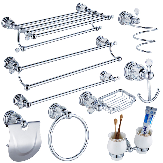 Luxury Crystal Silver Bathroom Accessories Set Chrome Polished Br Bath Hardware Wall Mounted Products
