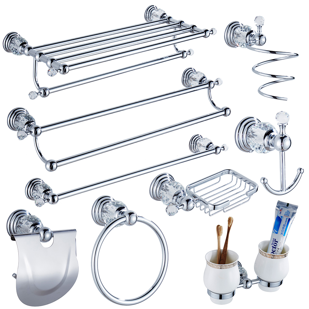 Silver bathroom accessories sets - Luxury Crystal Silver Bathroom Accessories Set Chrome Polished Brass Bath Hardware Set Wall Mounted Bathroom Products