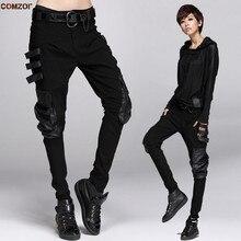 Otoño Invierno mujeres hip hop punk harem pantalones cuero patchwork  bolsillo Pantalones mujer elástico casual holgado f68b2e1ce45