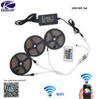 15 м 5 м RGB DC 12 В Светодиодные ленты свет Водонепроницаемый Wi-Fi SMD5050 2835 10 м гибкий диода ленты светодио дный лента с контроллер wi-fi и адаптер