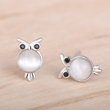 Funmor Owl Animal 925 Sterling Silver Earrings Stud Ear Jewelry Opal Girls Children Daily Party Accessories Ornaments Gifts