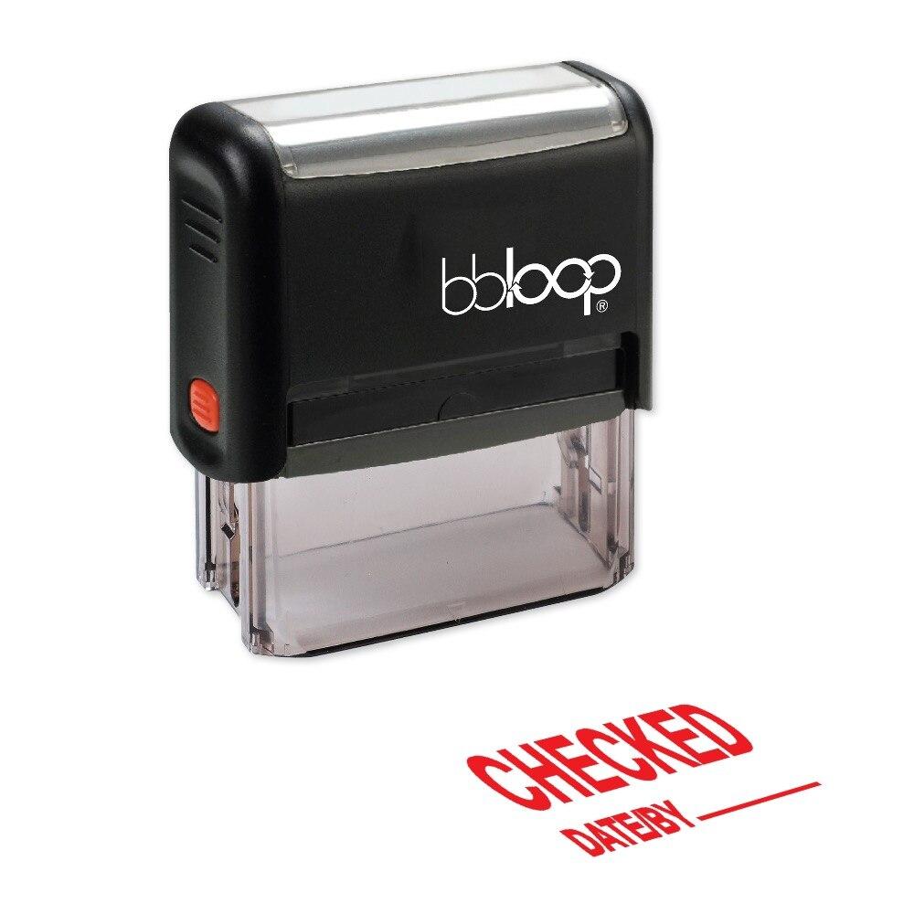 BBloop ПРОВЕРЕНО W/линии для даты/самостоятельно штемпеля, прямоугольные, лазерной гравировкой, красный