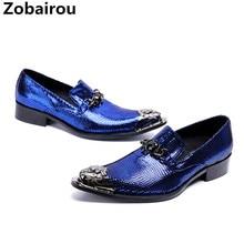 Классический Sapato social masculino синий шипами Мокасины Оксфорд обувь для мужчин острым стальным носком свадебные туфли мужские ботинки
