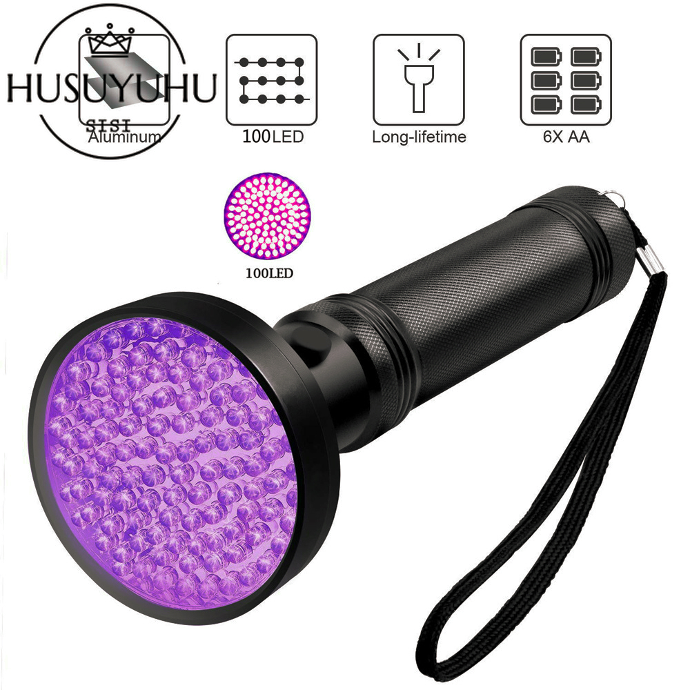 UV Lights 100 LEDs 395nm Flashlight Blacklight Ultraviolet Black Pet Urine Stains Detector Bed Bug Scorpion Hunting