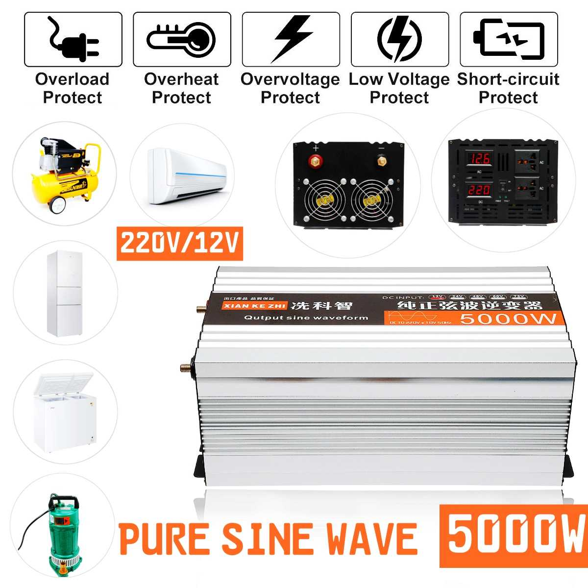 small resolution of  pure sine wave inverter dual led display 5000w power inverter 12v 24 48
