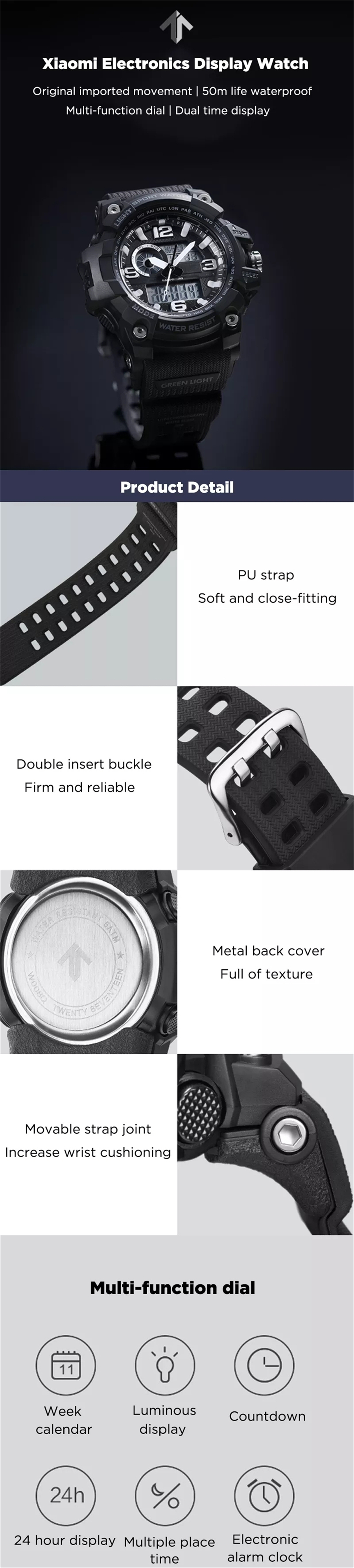 New xiaomi mija outdoor Double display digital watch Original imported movement Multi-function dial Dual time display waterproof (3)