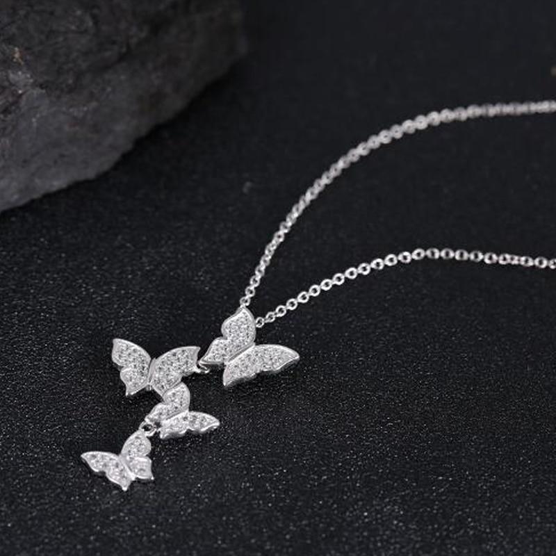SMJEL Nove višestruke srebrne cirkonske ogrlice sa leptirima za - Modni nakit - Foto 5