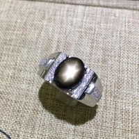 Natural Star Sapphire Stone Solid Silver 925 Rings Men Natural Stone 925 Sterling Silver Jewelry Male Free Box Certificate Gifts