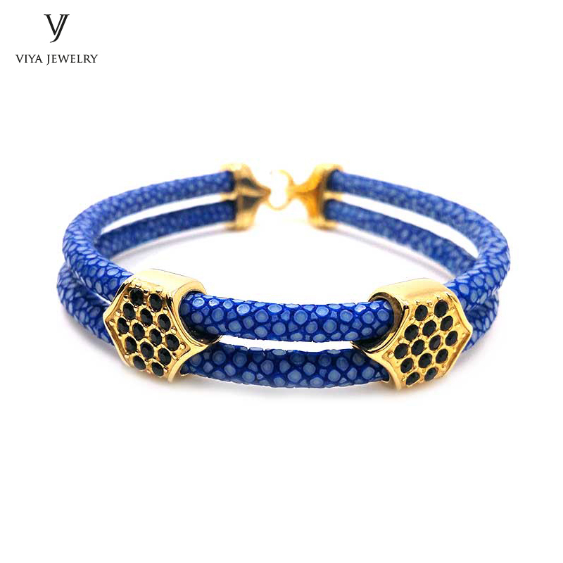 New Gold Bracelets Navy Blue Stingray Leather Bracelets For Men Famous Luxury Brand Jewelry Bangle With High-grade Gift Box luxury brand love bracelets