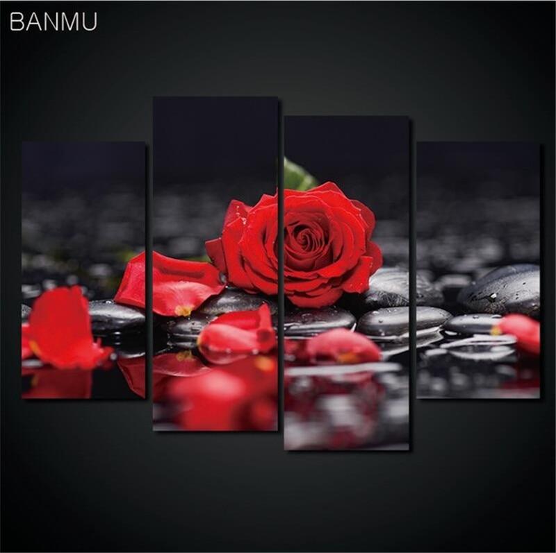 4 Teile/los Leinwand Drucken Blume Lotus Rose In Schwarz Wand Kunst Bild Mit Moderne Wand Gemälde Modulare Bild (unframed) Fest In Der Struktur