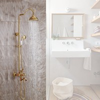 Brass solid wood Bathroom gold shower faucet set with top Rainfall & handheld shower head & Spout Luxury shower set