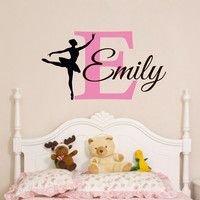 Custom Baby Girls Name Wall Sticker Ballerina Wall Decal Personalized Girls Bedroom Wall Art Decor Nursery