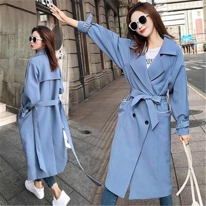387bb4708eab khaki Nouvelle Femmes Mode Veste Taille Chic Longue V304 Coupe De Printemps  Survêtement Black Lâche vent Coréenne Section Femme blue 2019 Manteaux ...