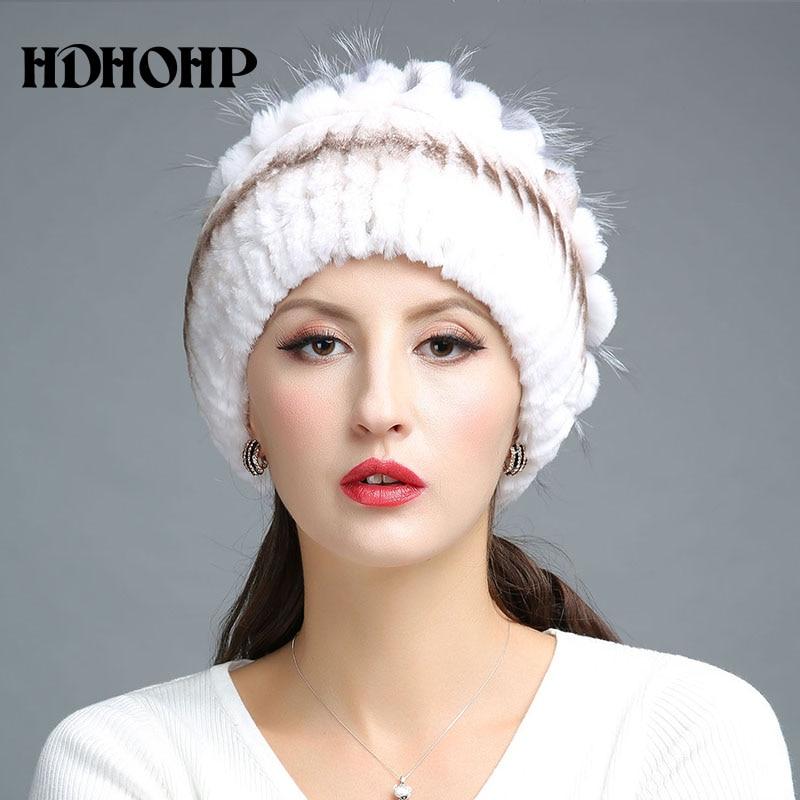 HDHOHR 2017 Nuevo invierno cálido sombrero de piel real para mujer - Accesorios para la ropa - foto 4
