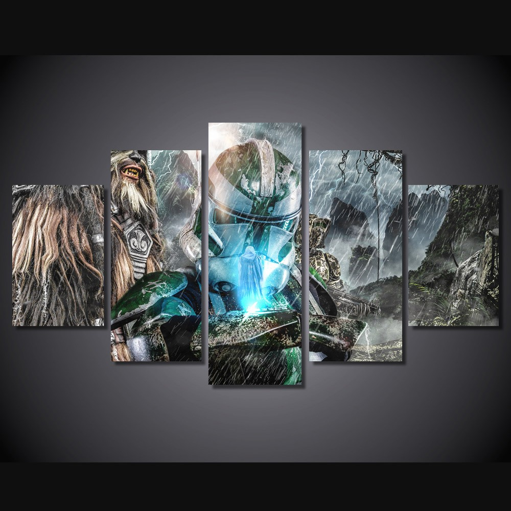 5 pcs set framed hd printed game characters picture wall
