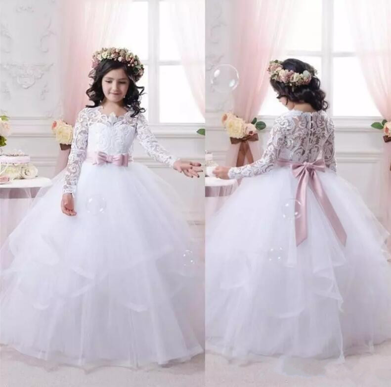 New Cheap White Flower Girl Dresses for Weddings Lace Long Sleeve Girls Pageant Dresses First Communion Dress Little Girls Gown 2018 new summer long elegant white flower girls dress kids baby teenagers first communion pageant girl wedding party dresses