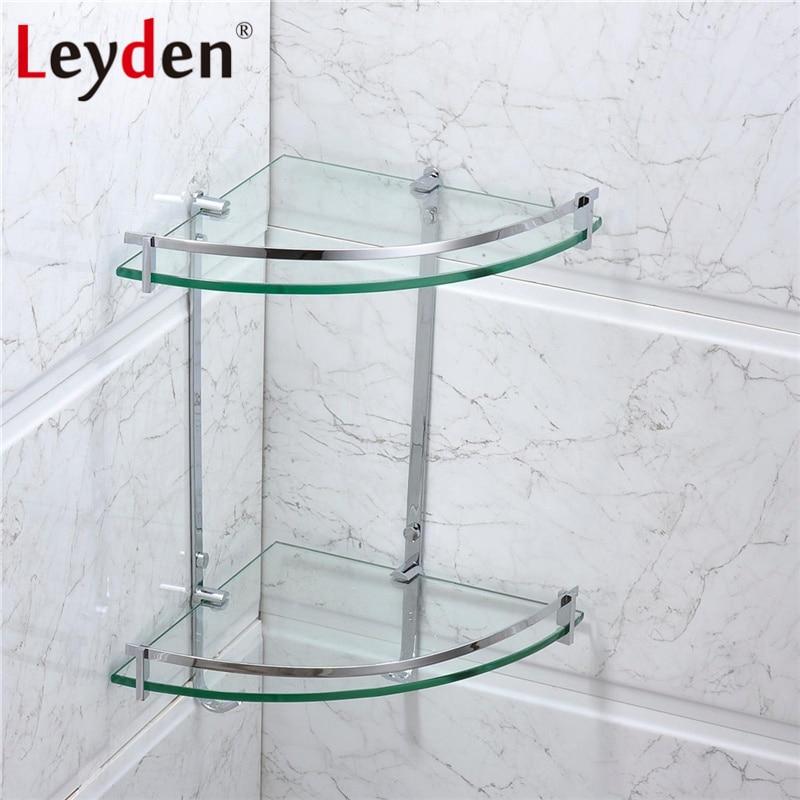 Leyden Stainless Steel Glass Shelf Corner Polished Chrome Wall Mounted Double Tier Bath Glass Shelf Holder Bathroom Accessories стоимость