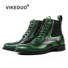 VIKEDUO Full Brogue Round Toe Patina Genuine Cow Leather Mens Ankle Boots Lace-Up Handmade Brand Customized Green Chelsea