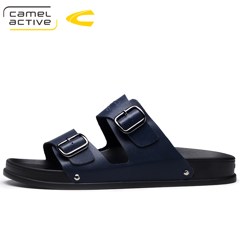 все цены на Camel Active 2018 New Quality Genuine Leather Men Shoes Sneakers Summer Shoes Elastic Slippers Male Outdoors Beach Slides 18136