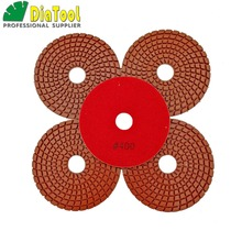 "DIATOOL 5pcs 4"" Professional Diamond Flexible wet polishing pads for stone, ceramic/tile #400 Sanding discs Premium qualitywet polishing padspolishing padflexible polishing pads"