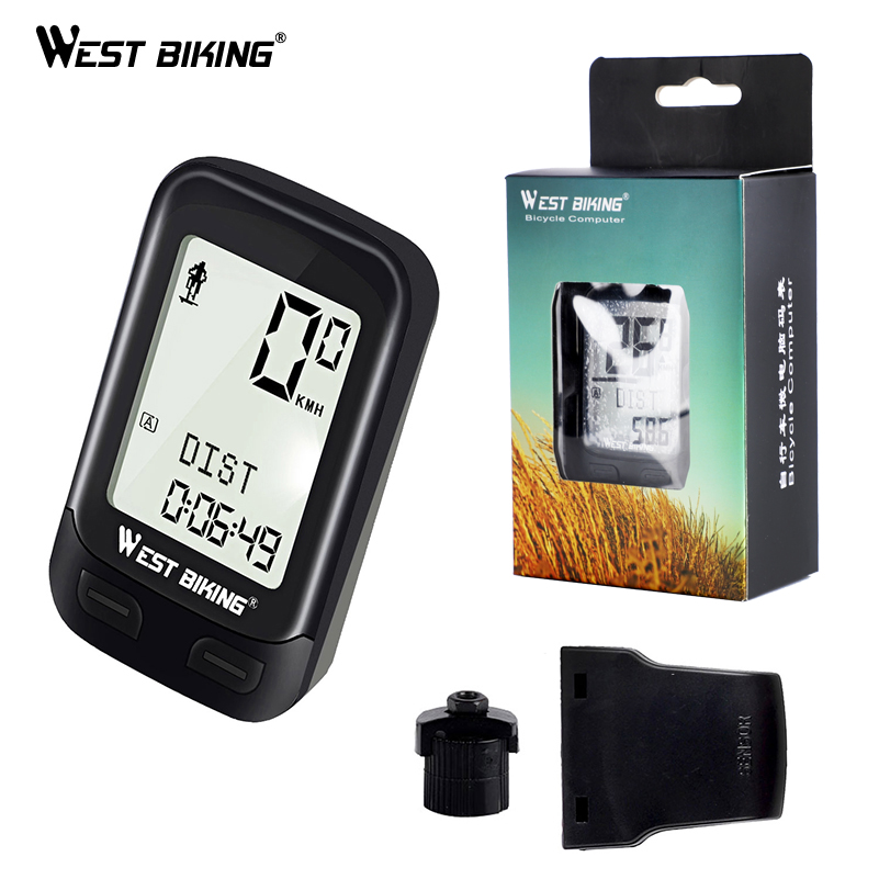 WEST BIKING LED Waterproof Bicycle Computer Wireless 5 Language Cycling Bike Odometer Stopwatch Speedometer 2.1in Bike Computer