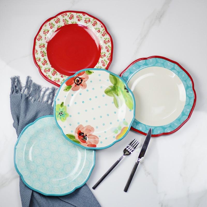 High Quality 10 6 Inch Big Antiques Colorful Ceramic Flat