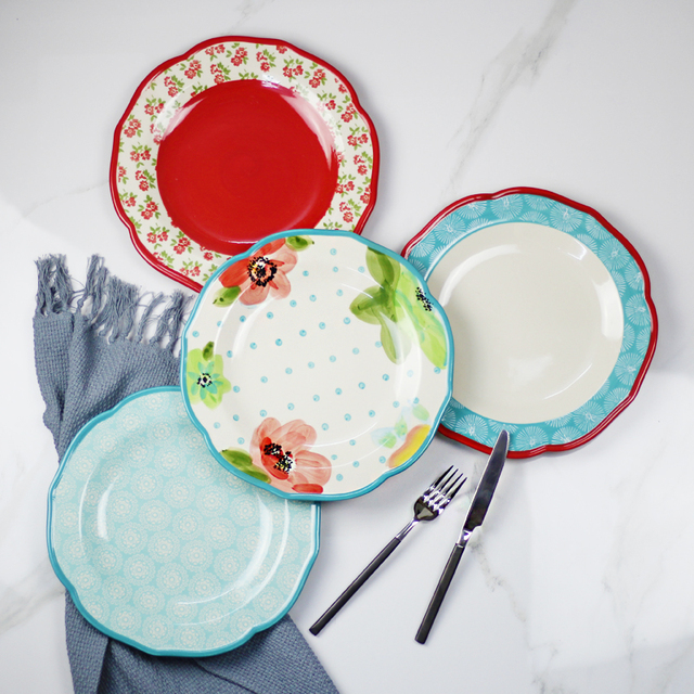 High Quality 10 6 Inch Big Antiques Colorful Ceramic Flat Plate Porcelain Dish Round Shape Restaurant Dinner