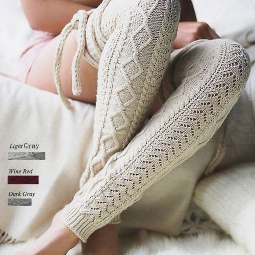 Épaissir jambières femmes chaud genou haute hiver tricot Crochet Legging botte Legging chaud