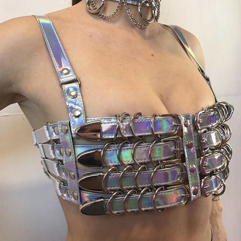 MUXU femmes PU paillettes Laser Tube crop été haut à licou femmes haut pour femmme sexy tenue de club dos nu patchwork jarretelles vêtements