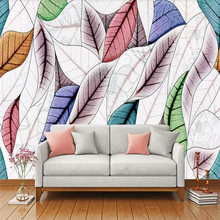 цены 3D photo wallpaper art leaf sofa bedside hand-painted background wall paper mural home decoration