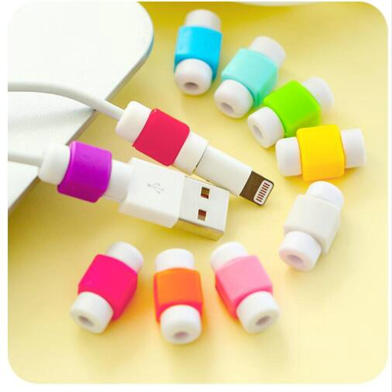 10pcs/lot Colorful USB Charger Data Cable Earphone Protector Headphones Line Saver For Iphone 5 5s 6 7 USB Cable Protection