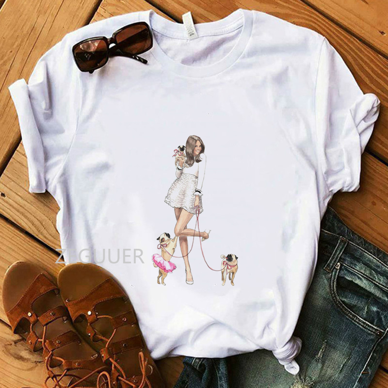 Summer Dog Mom Tops Girl And Pet Dogs T-shirt Kawaii Illustration Tees 100% Cotton Soft O-Neck White Women Casual T-Shirt