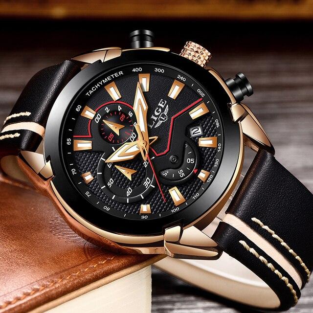 Lige Fashion Design Leather Date Chronograph Men Quartz Watches 1
