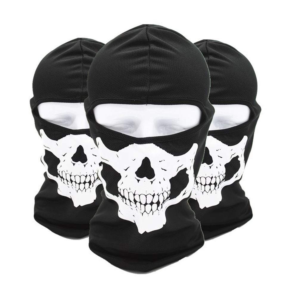 Unisex Ghost Masks Skullies Paintball Costume Halloween Mask Winter Windproof Mask Hat Neck Beanies Men Women Balaclava Bonnet skullies