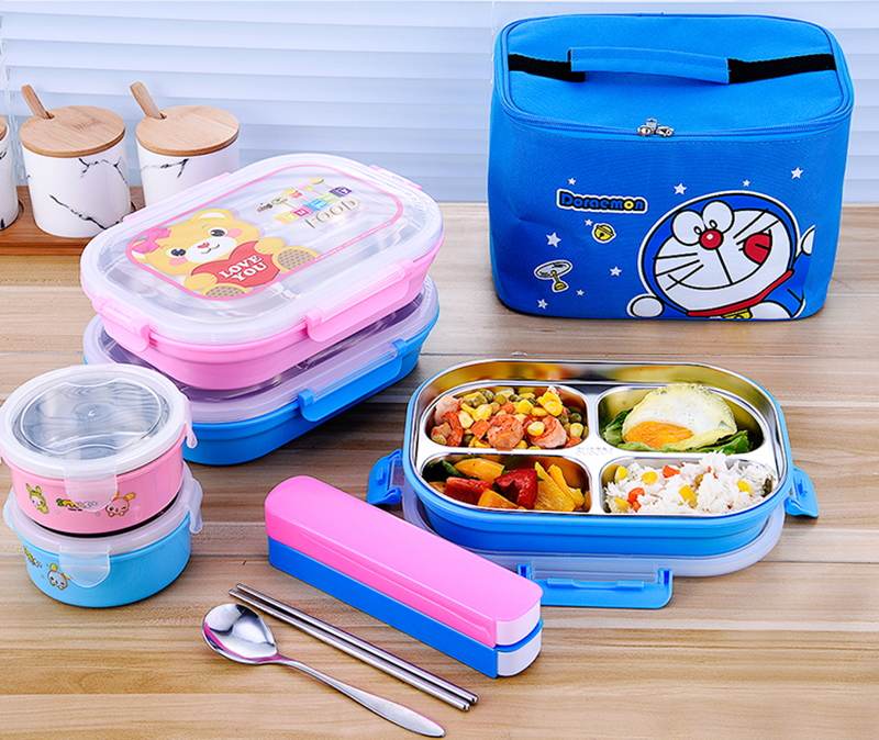 Hello Kitty Deraemon Cartoon Food Container Thermos Children School Picnic Portable Bento Lunch Boxes Rectangle Plastic Stainless Steel 7