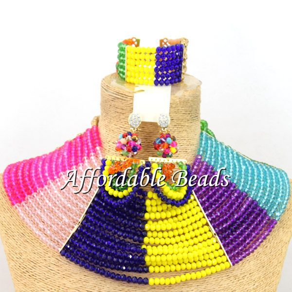 Latest Crystal Party Jewelry Set Pretty Nigerian Beaded Jewelry Set Wholesale Free Shipping ABW097