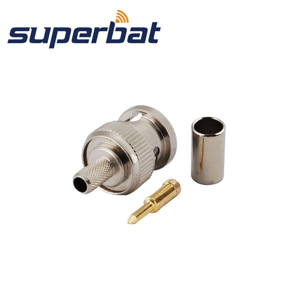 Superbat 10pcs RF BNC Connector Crimp Plug Male for Cable RG58,RG142,LMR195 free shipping