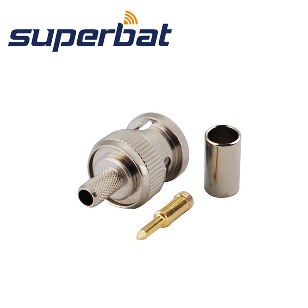 Superbat 10pcs RF BNC Connector Crimp Plug Male For Cable RG58,RG142,LMR195 Free Shipping
