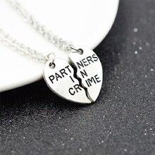 2017 Partners In Crime Couples Necklace 2Pcs/Set Couples Pendant Necklace Pair Pendants For Friends Gift
