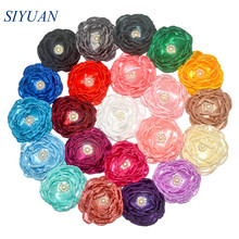 20pcs/lot 4 Gorgeous Burned Satin Flower with Rhinestone 7 layer Fabric Bloom Accessories for Girl Headband Bridal Dress TH282